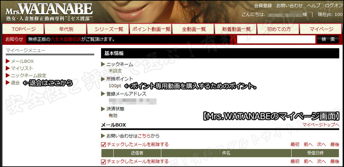 Mrs.WATANABE(ミセスワタナベ)のマイページ